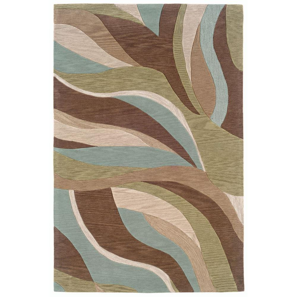 Fashion Blue/Brown Rectangle 5 ft. x 7 ft. 9 in. Luxurious