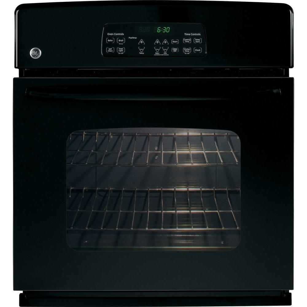 GE 27 in. Single Electric Wall Oven Self-Cleaning in Black-JKP30DPBB -