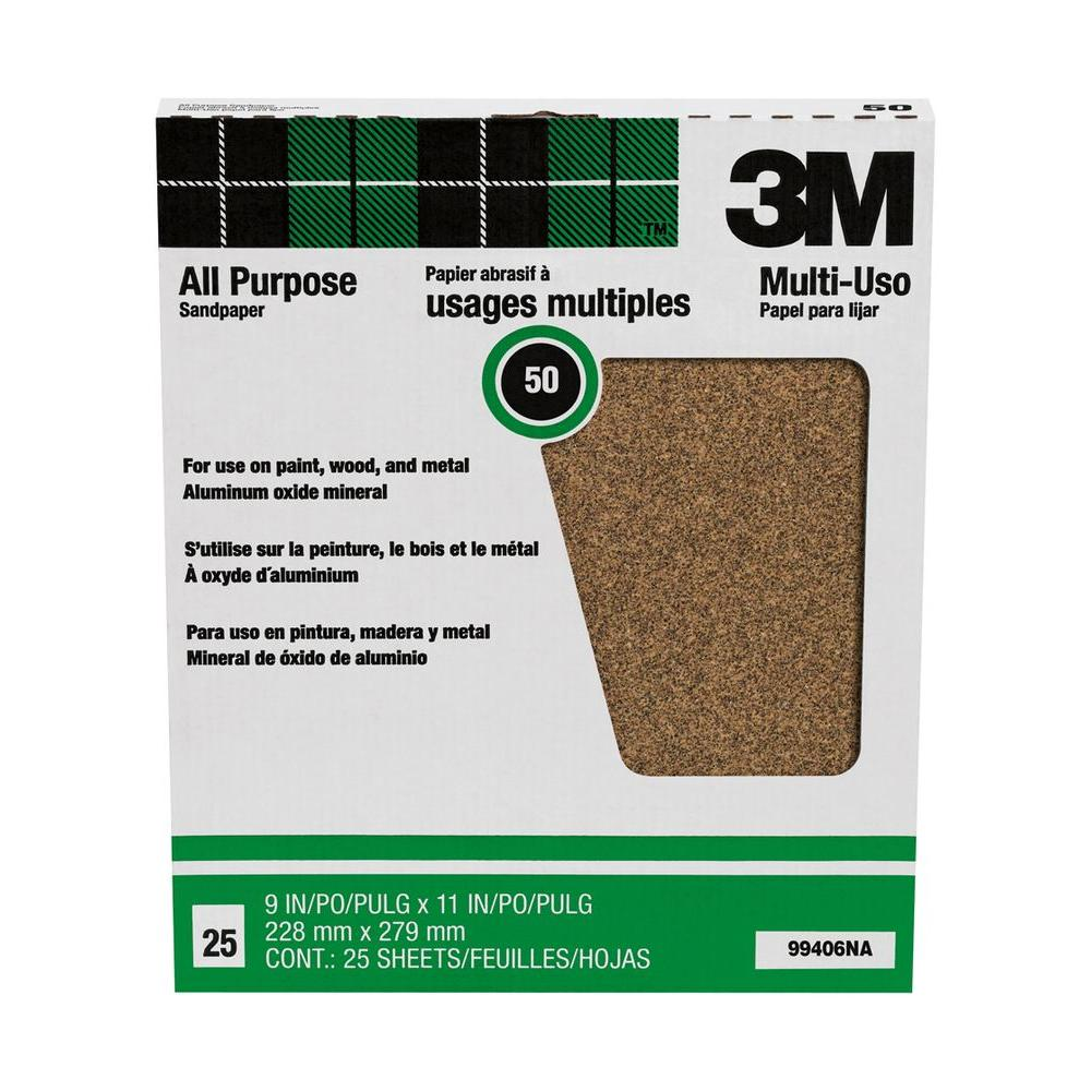 3M Pro-Pak 9 in. x 11 in. Paint and Rust Removal Aluminum Oxide Sandpaper (25-Sheets/Pack)