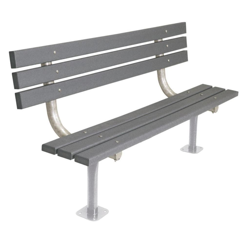Ultra Play 6 ft. Gray Commercial Park Recycled Plastic Bench with Back Surface Mount
