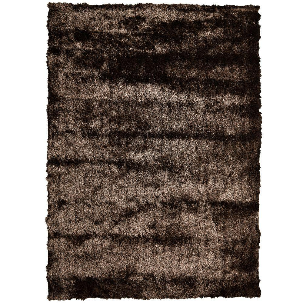 So Silky Chocolate Polyester 8 ft. x 10 ft. Area Rug