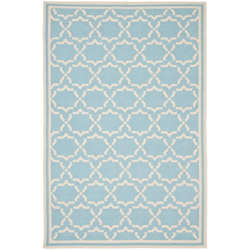 dhurries light blueivory 8 ft x 10 ft area rug