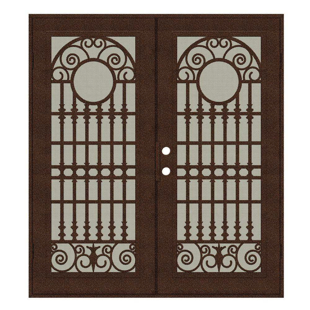 Unique Home Designs 72 in. x 80 in. Spaniard Copperclad Right-Hand Surface Mount Aluminum Security Door with Beige Perforated Screen