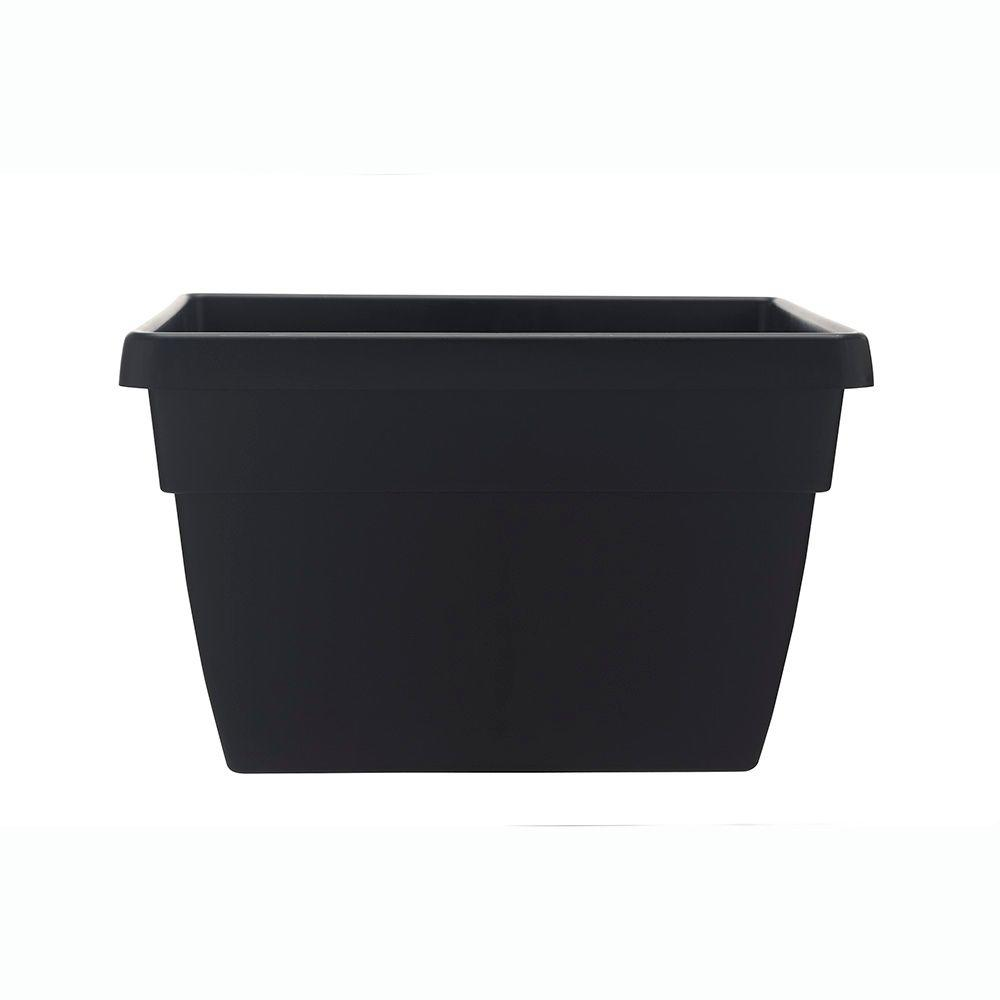 Southern Patio Newbury 12 In. X 15.75 In. Black Poly Railing Planter
