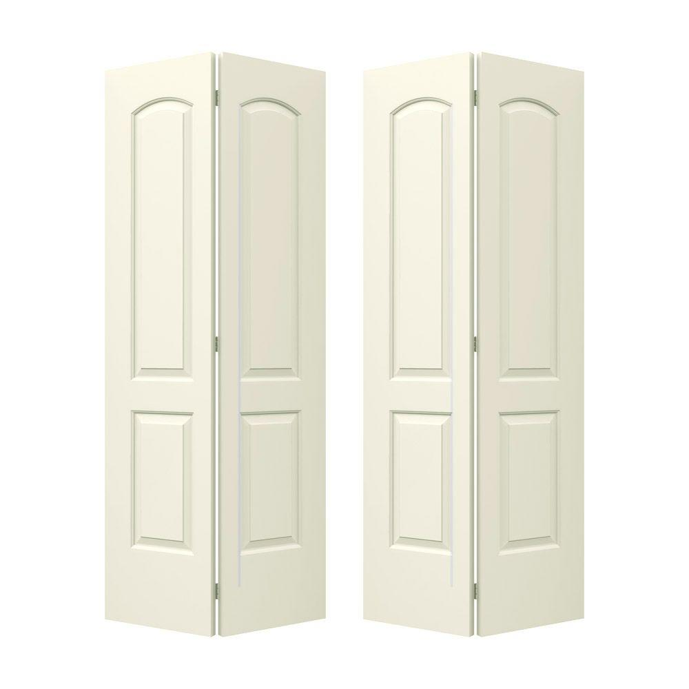 72 in. x 80 in. Molded Smooth 2-Panel Arch French Vanilla