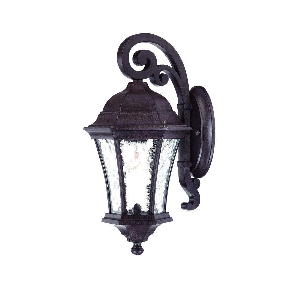 Waverly Collection Wall-Mount 1-Light Outdoor Black Coral Light Fixture