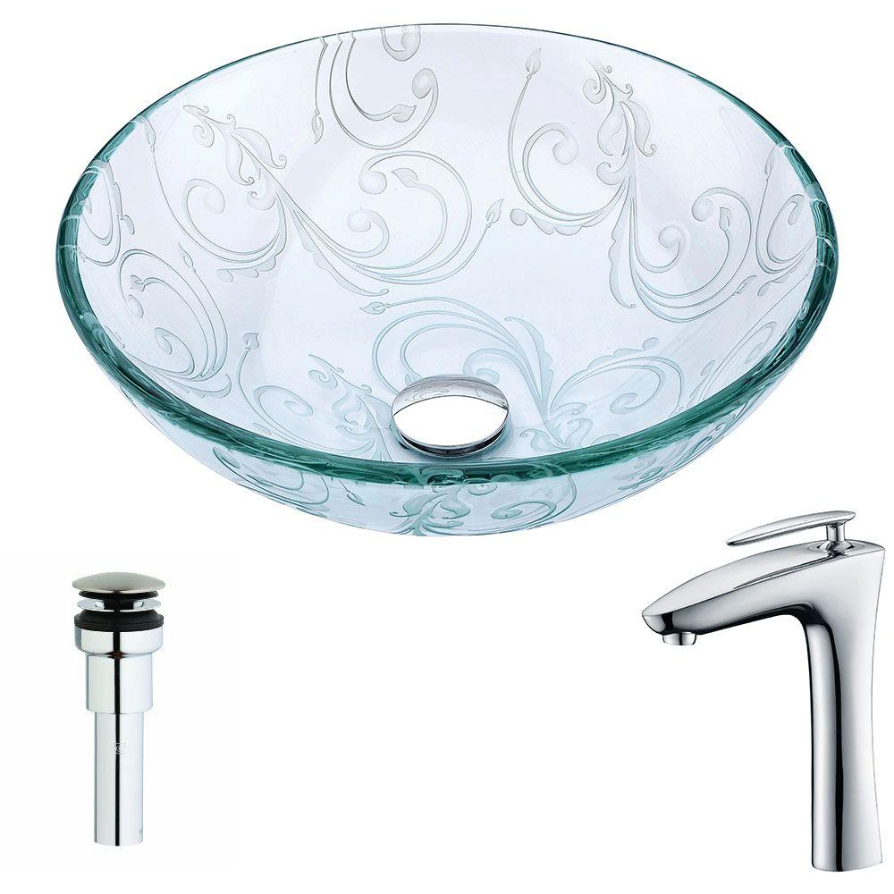 Vieno Series Deco-Glass Vessel Sink in Crystal Clear Floral with Crown