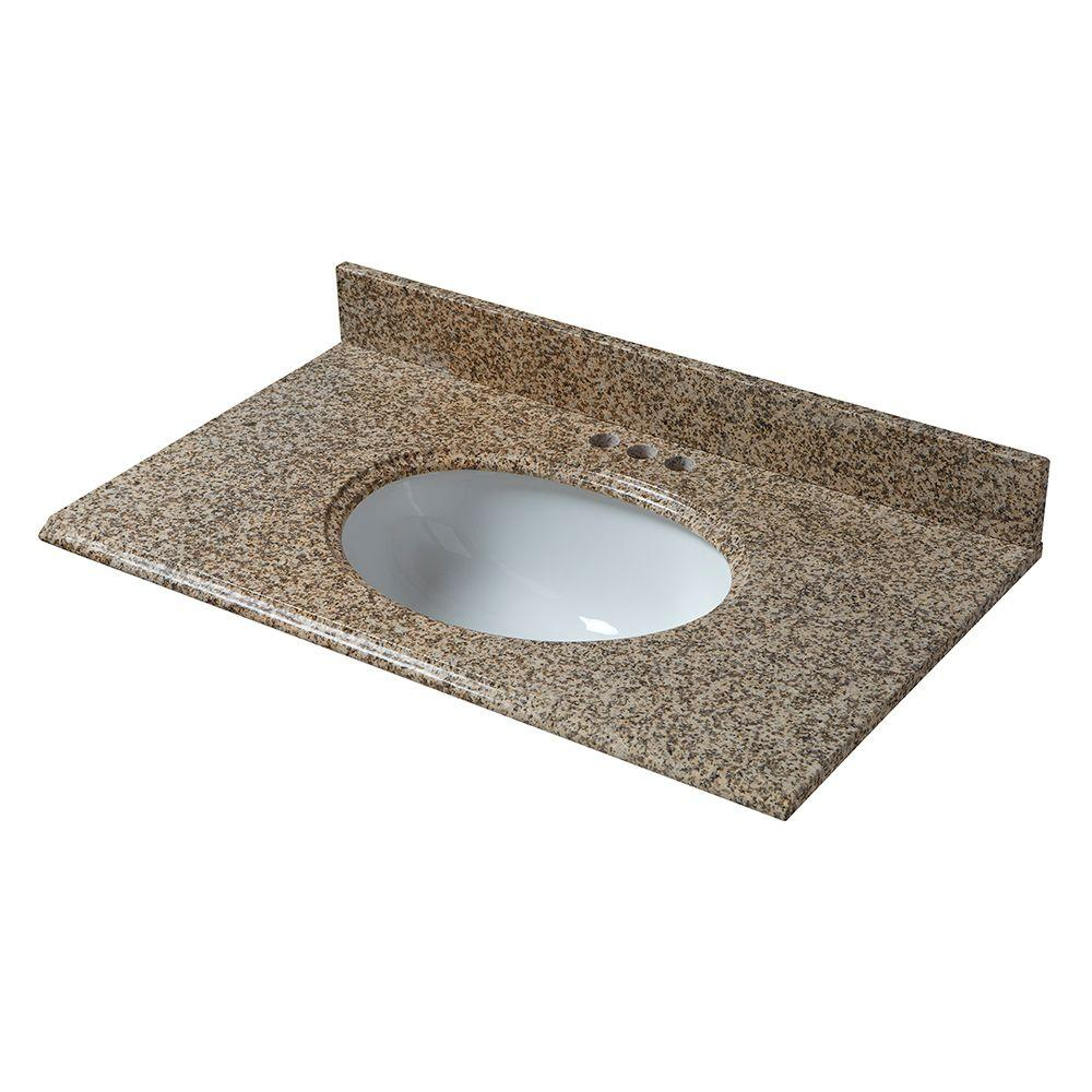 Pegasus 31 in. x 22 in. Granite Vanity Top in Montesol with White Bowl and 4 in. Faucet Spread