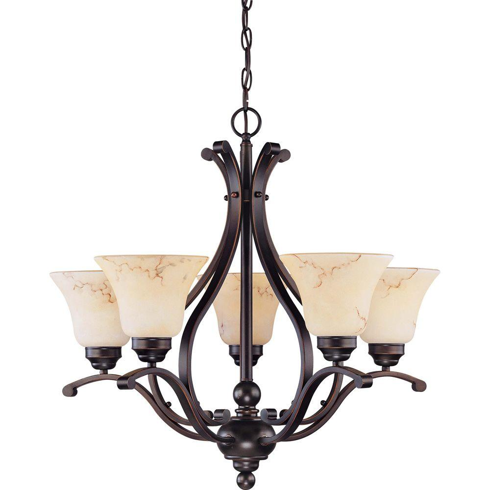 Glomar Vala Anastasia 5-Light Copper Espresso Chandelier with Honey Marble Glass