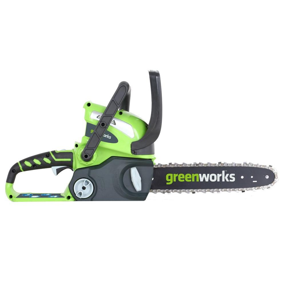 Green Works 12 in. 40-Volt Cordless Chainsaw Battery and Charger Not Included-DISCONTINUED
