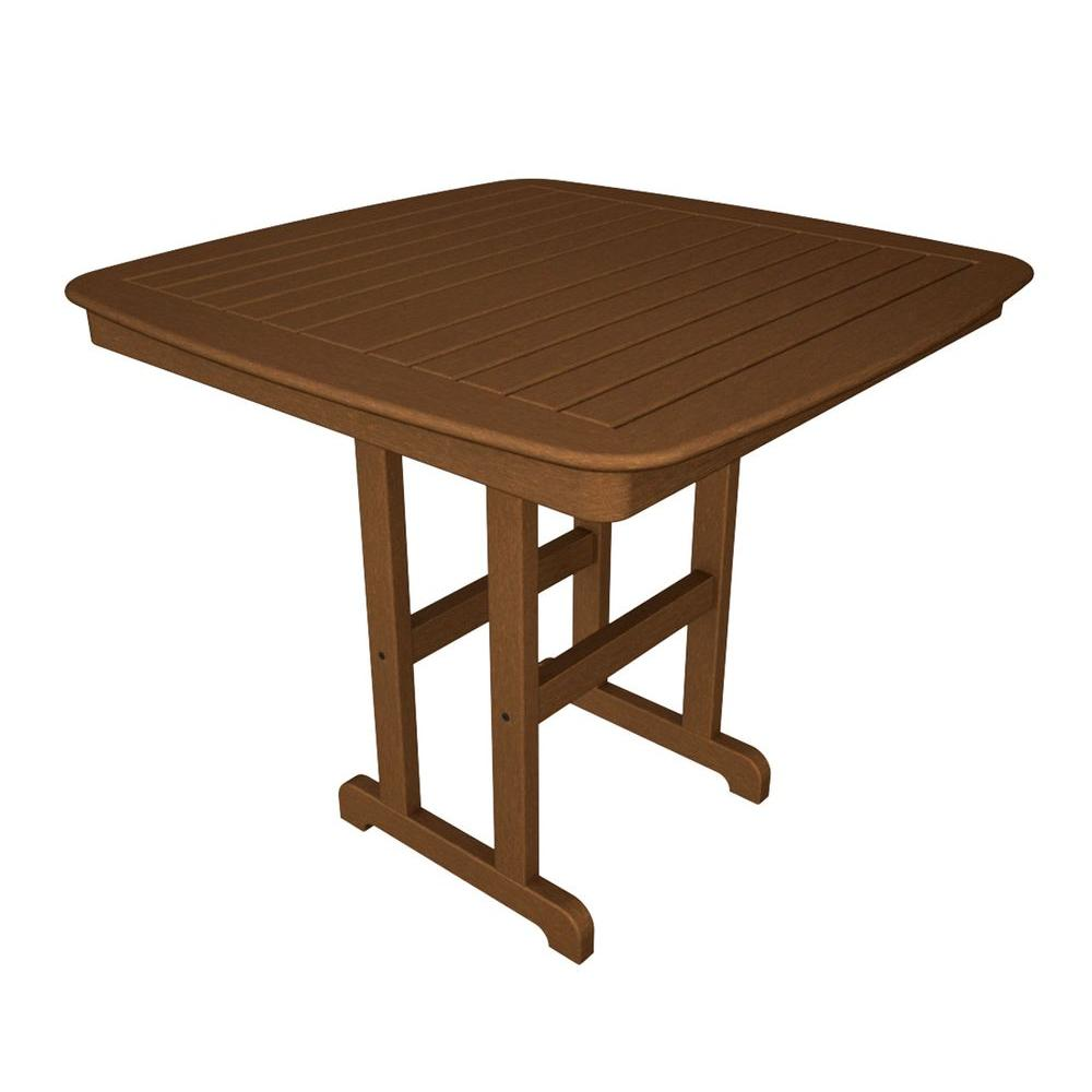 POLYWOOD Nautical 44 in. Teak Patio Counter Table