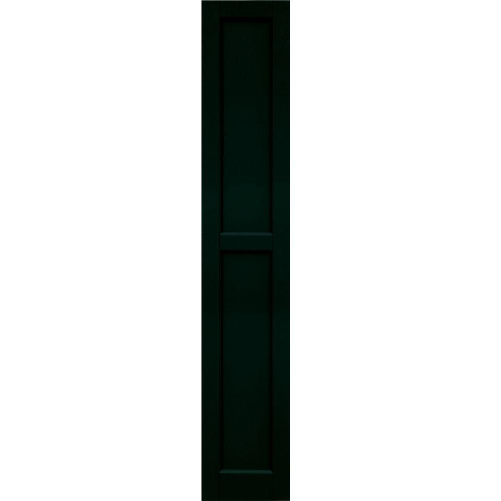 Winworks Wood Composite 12 in. x 68 in. Contemporary Flat Panel Shutters Pair #654 Rookwood Shutter Green