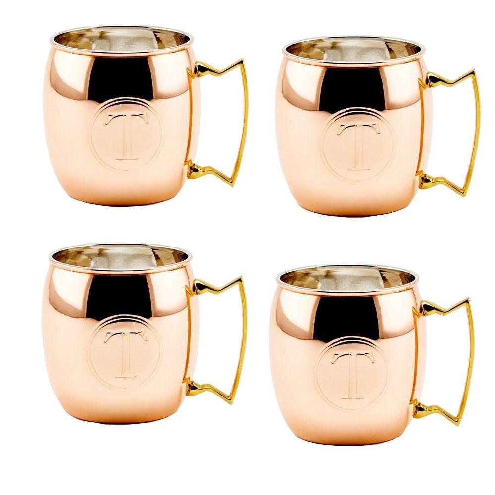 Old Dutch Monogram T 16 oz. Solid Copper Moscow Mule Mugs
