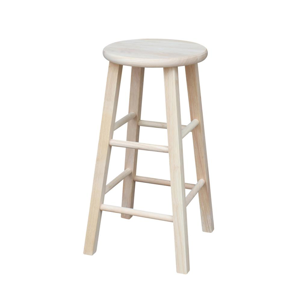 International concepts charlotte 24 in unfinished wood bar stool s 312 the home depot Home depot wood bar stools