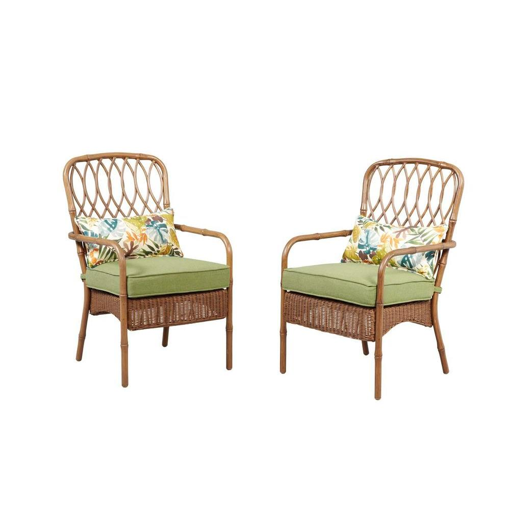 Hampton Bay Clairborne Patio Dining Chair with Moss Cushion 2 Pack DY