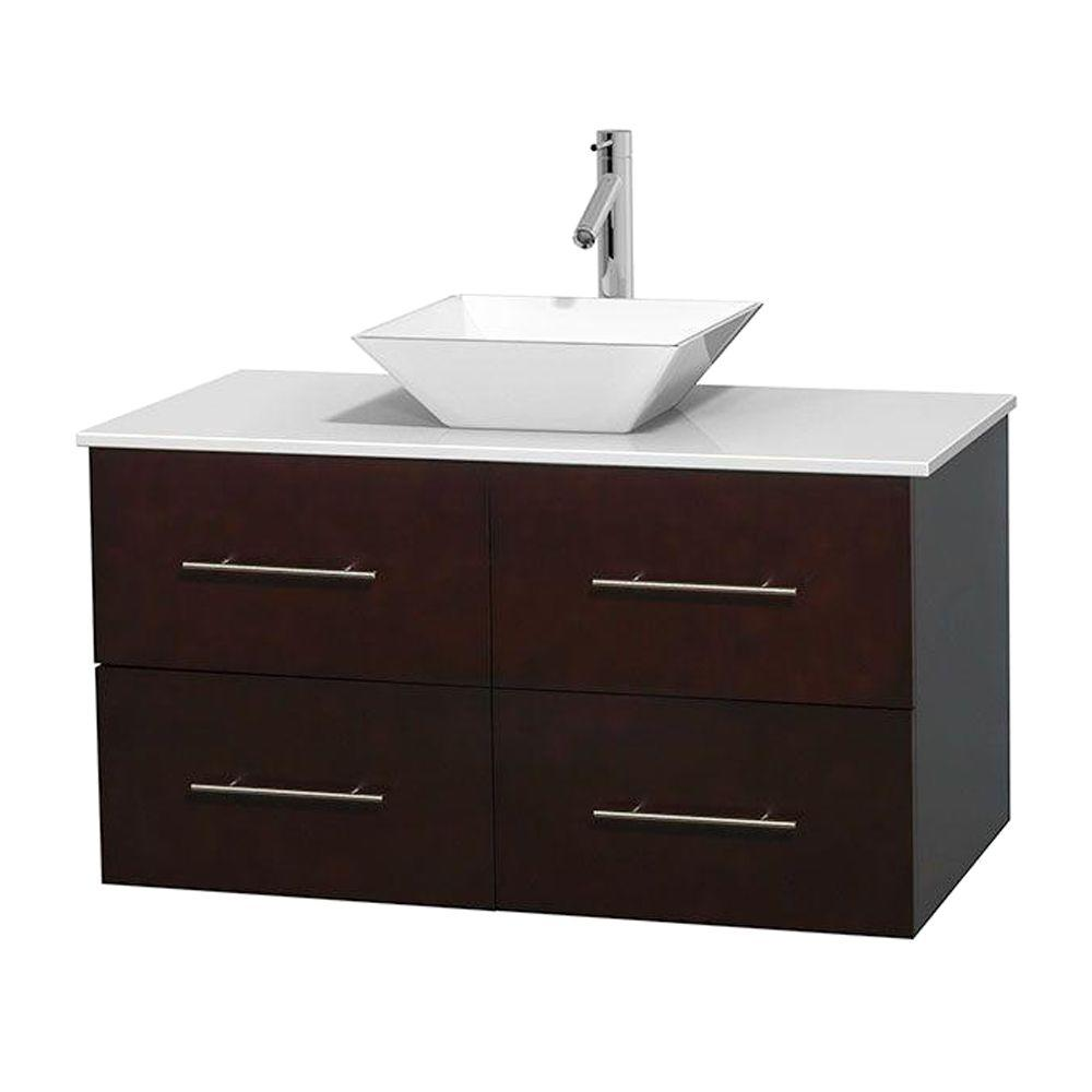 Centra 42 in. Vanity in Espresso with Solid-Surface Vanity Top in