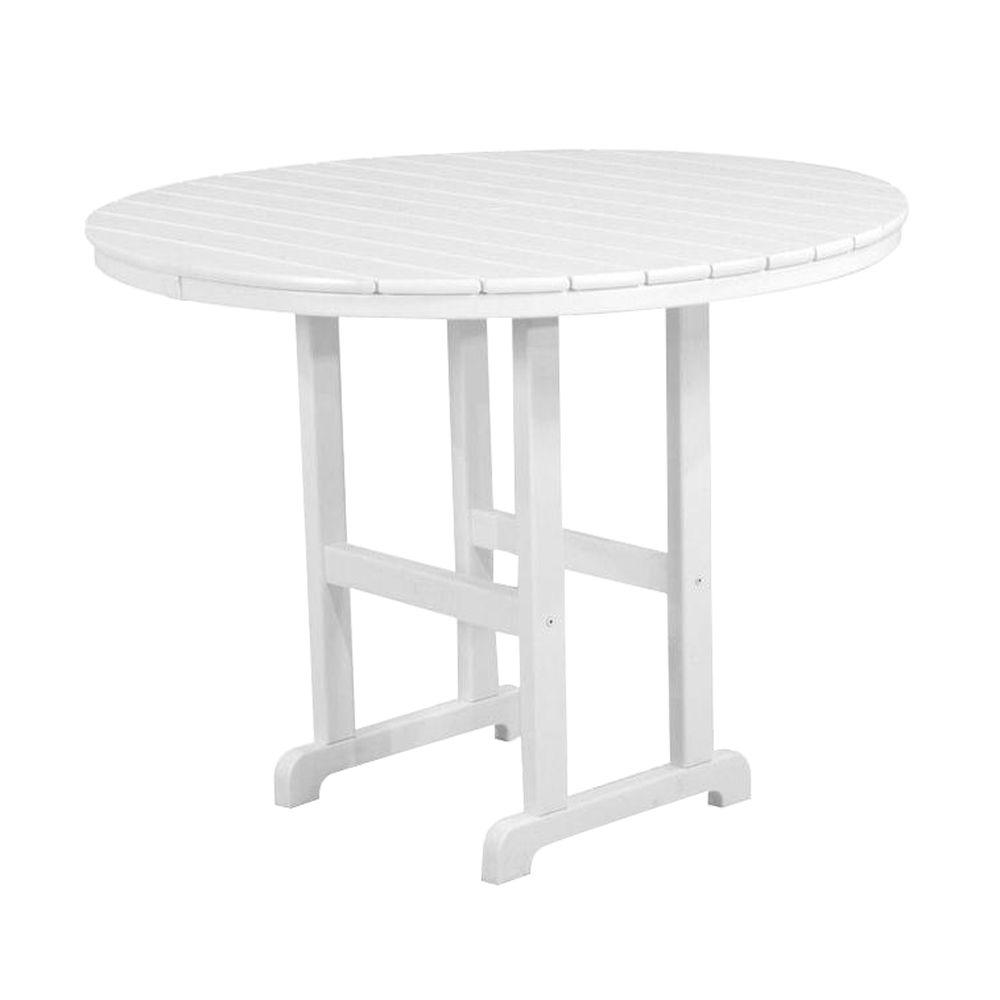 POLYWOOD La Casa Cafe 48 in. White Round Patio Counter Table-RRT248WH