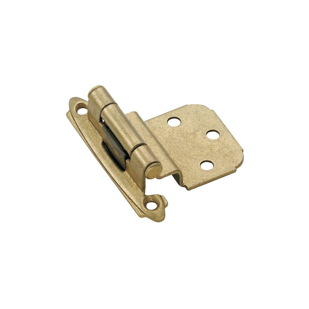 3/8 in. Inset Self-Closing Burnished Brass Face Mount Hinge