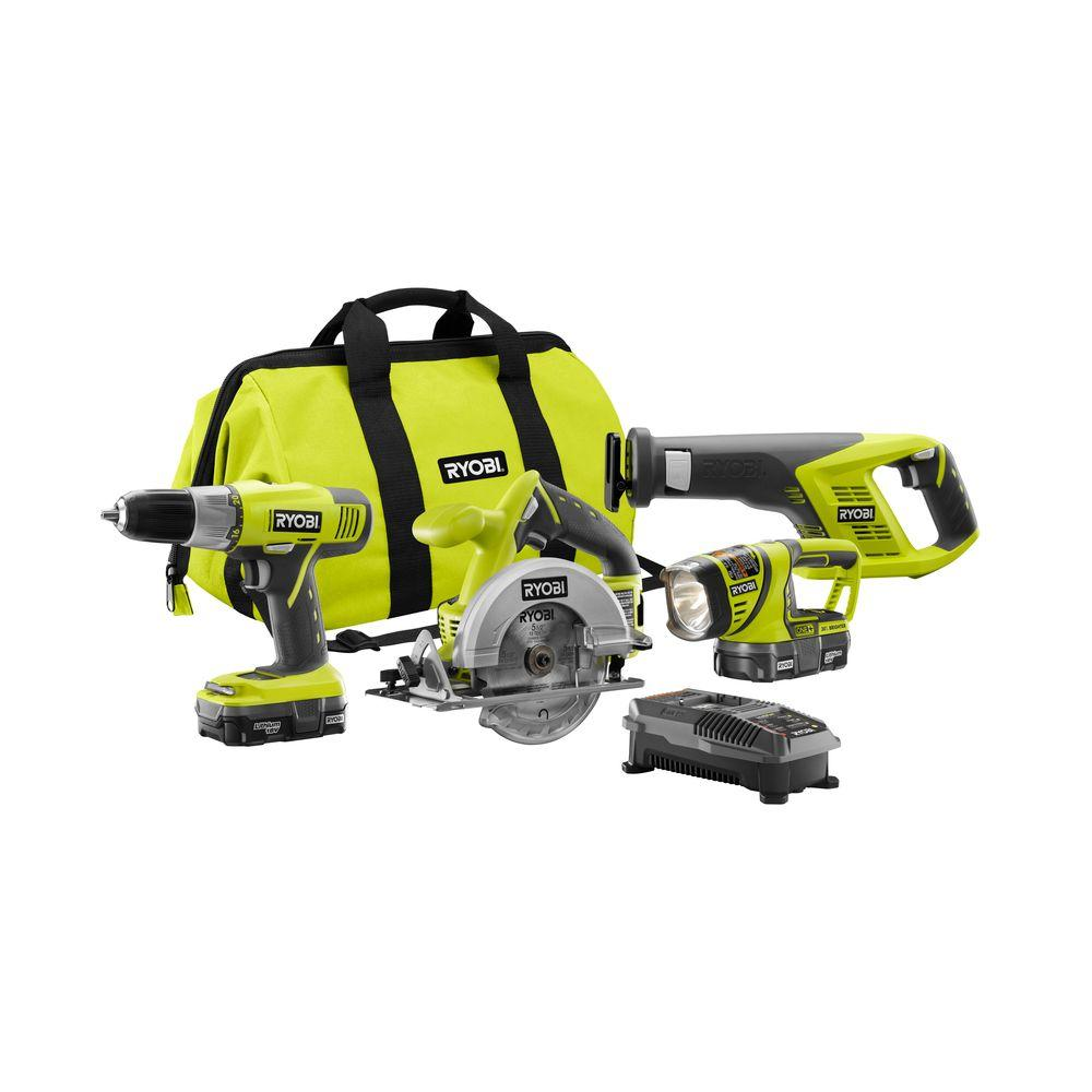 Ryobi Tool Sets 18-Volt One+ Lithium-Ion Super Combo Kit (4-Piece) P883