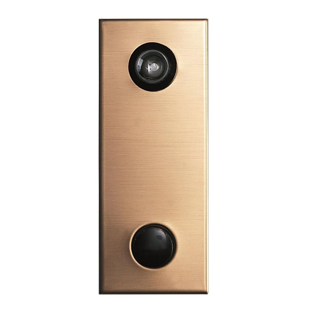 145-Degree Anodized Gold Door Viewer with Mechanical Chime
