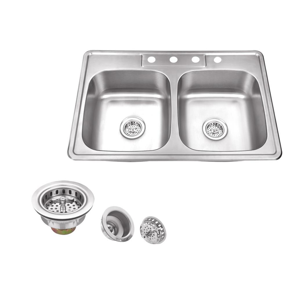 Drop-in 33 in. 4-Hole Stainless Steel Double Basin Kitchen Sink in