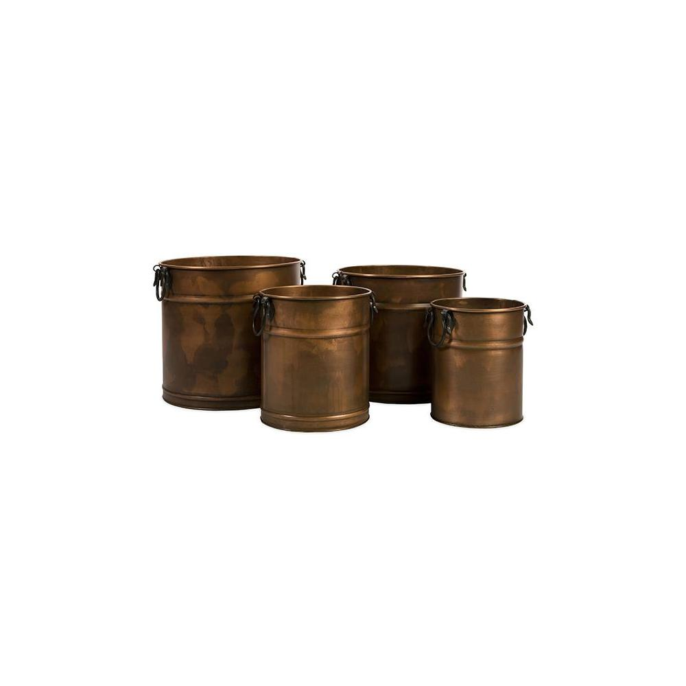 Home Decorators Collection Melanie Aged Copper Round Metal Planters (Set of