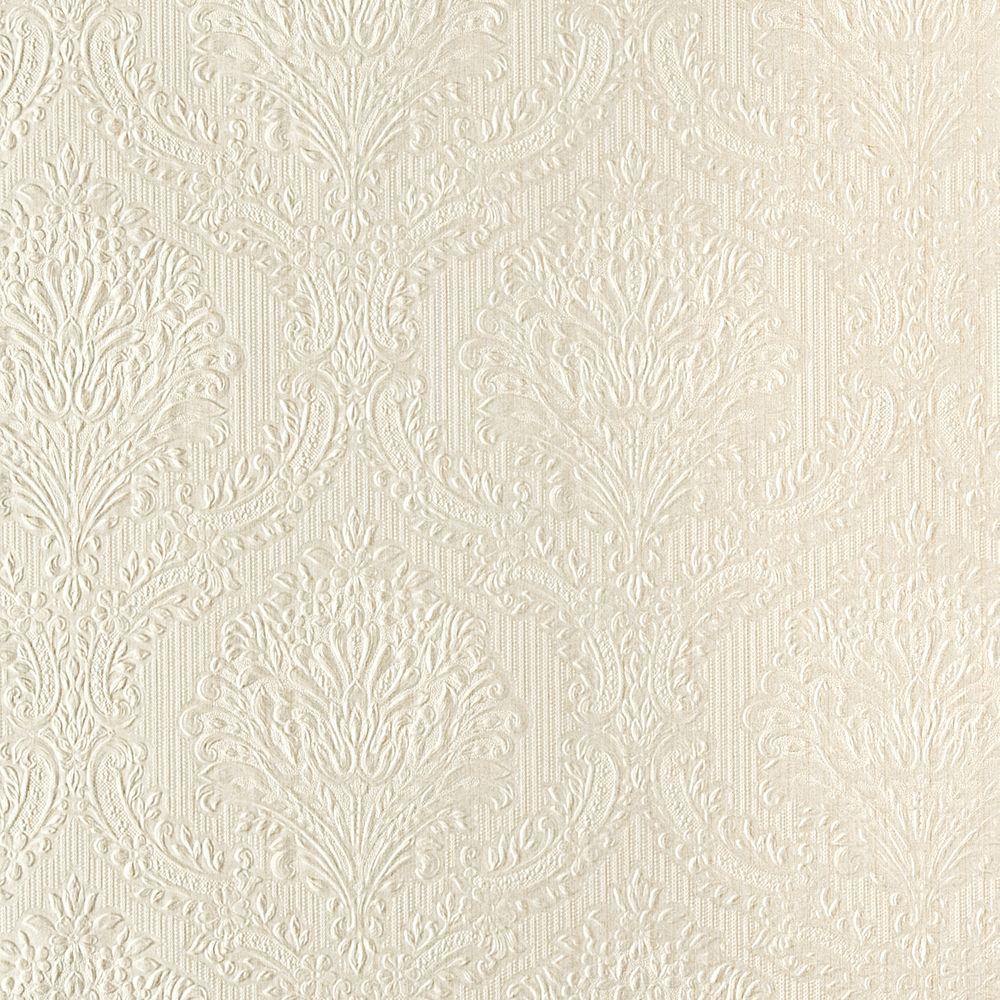 null 56 sq. ft. Poesy Champagne Damask Wallpaper