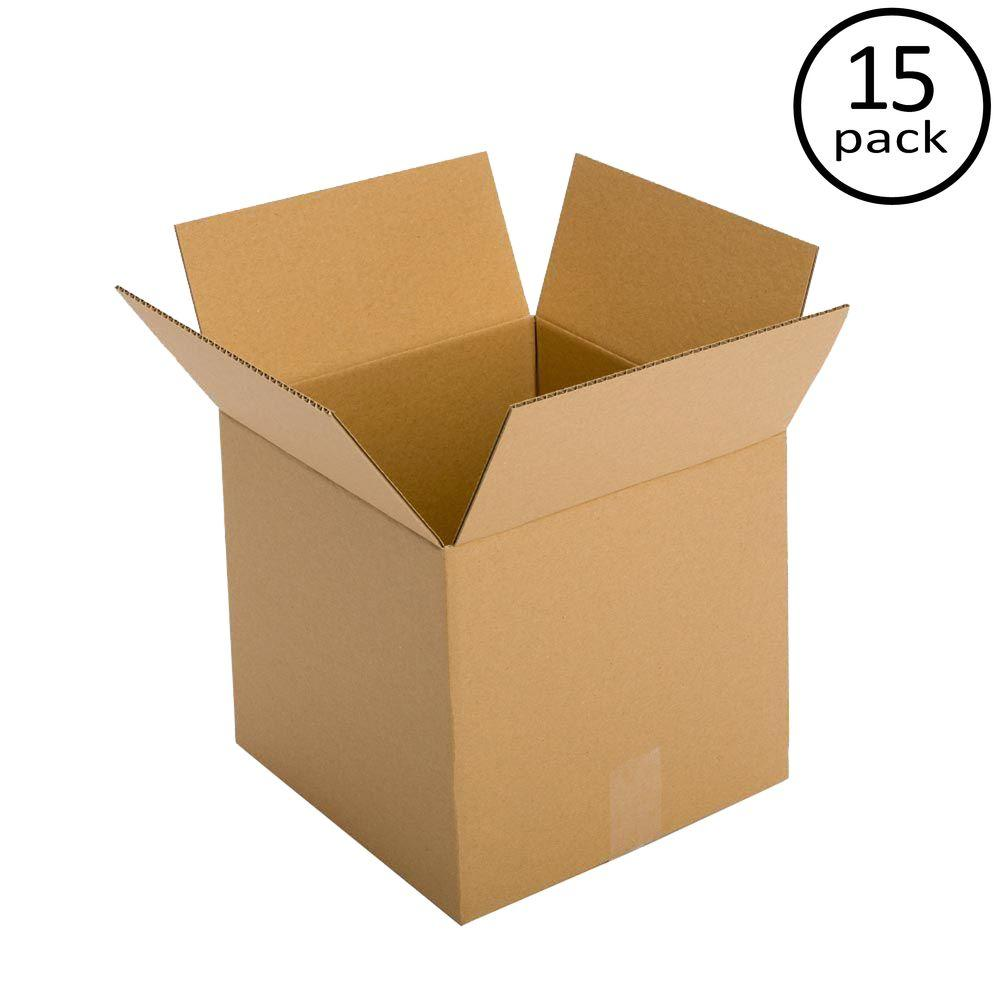 Plain Brown Box 12 in. x 12 in. x 12 in. 48 ECT Double Wall 15-Box Bundle