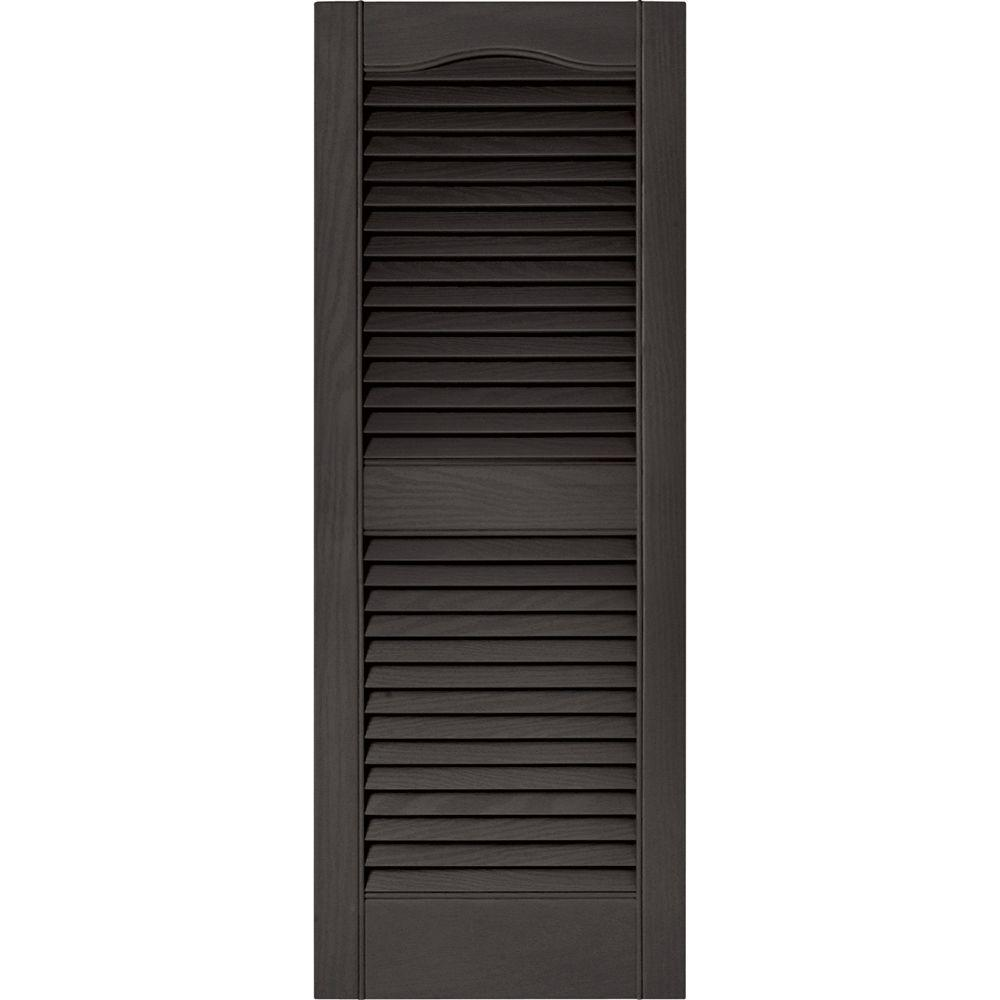 Builders Edge 15 in. x 39 in. Louvered Vinyl Exterior Shutters
