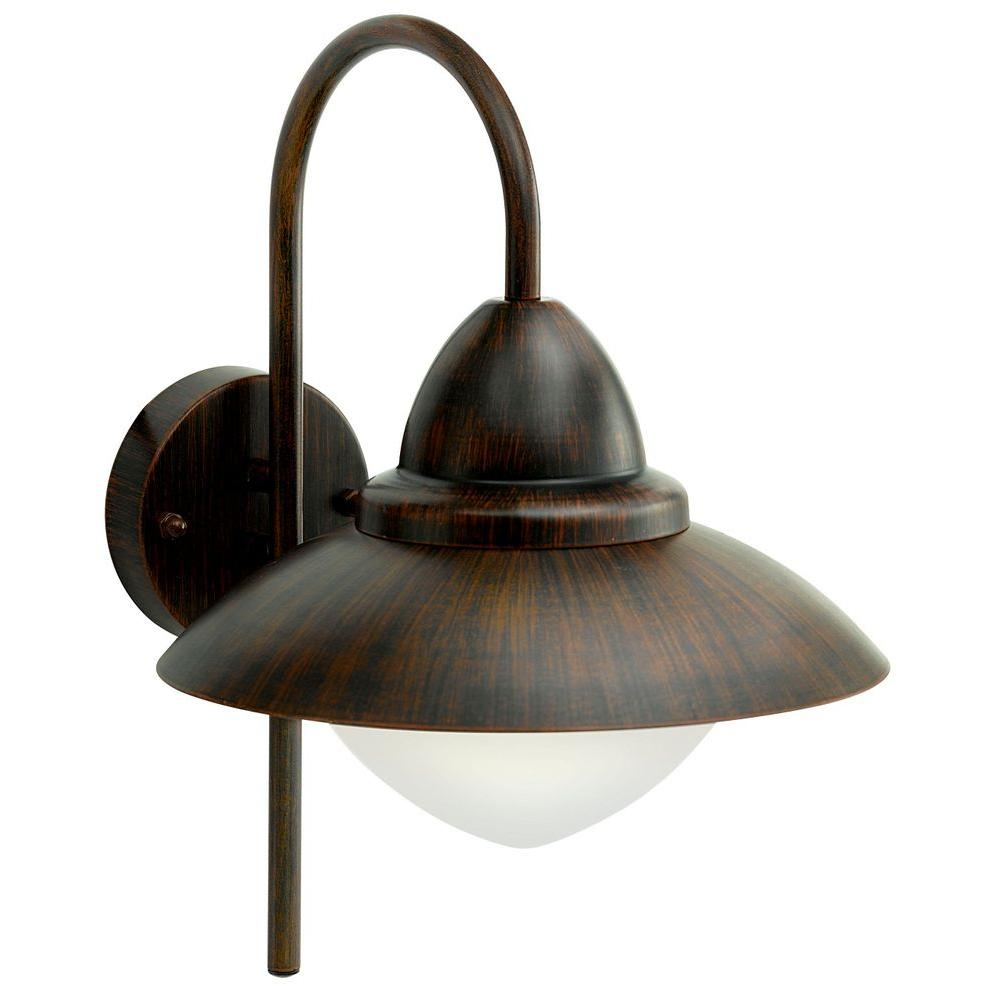 eglo sidney 1 light bronze outdoor wall lamp 20649a the home depot. Black Bedroom Furniture Sets. Home Design Ideas