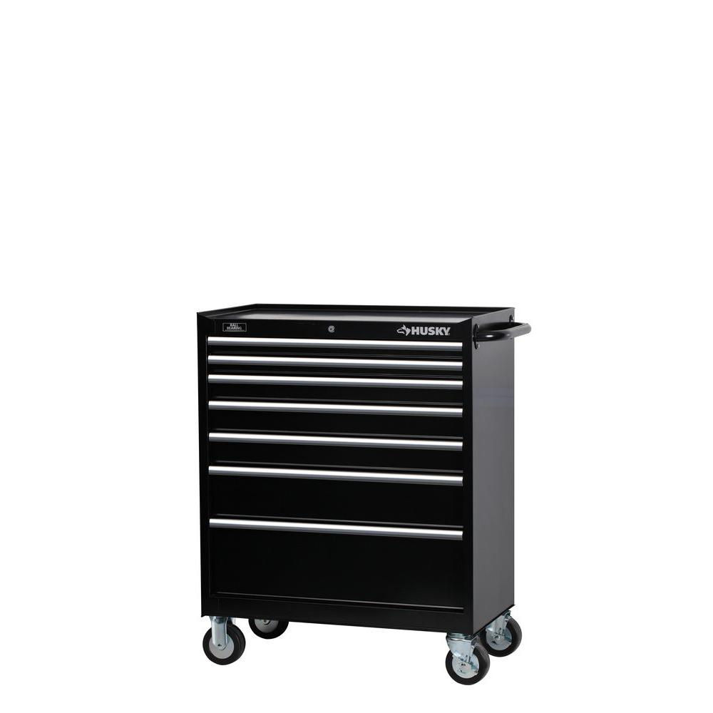 34 in. W 7-Drawer Tool Cabinet, Black