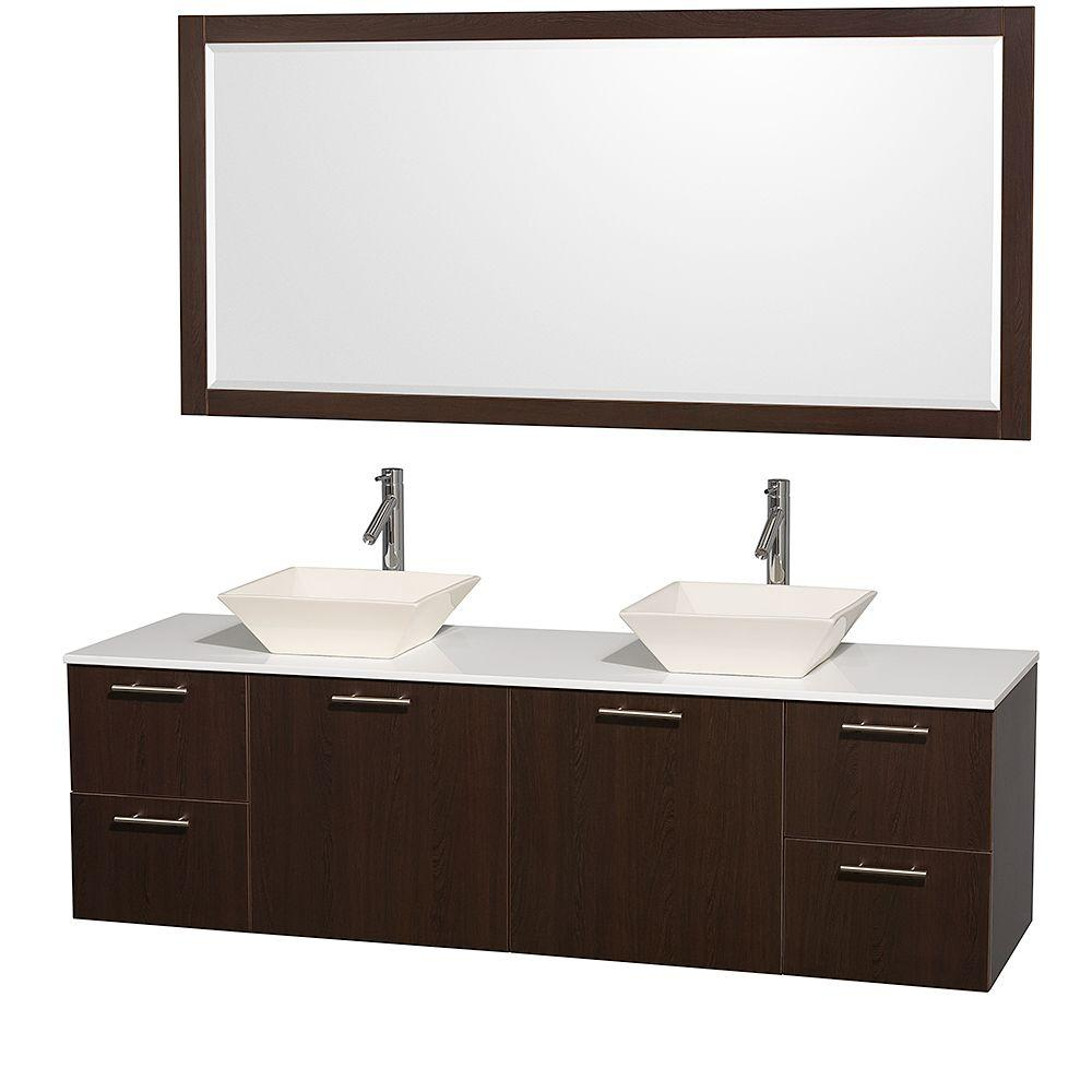 Wyndham Collection Amare 72 in. Double Vanity in Espresso with Man