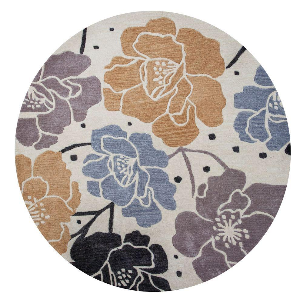 Kas Rugs Magic Roses Beige 5 ft. 6 in. x 5 ft. 6 in. Round Area Rug