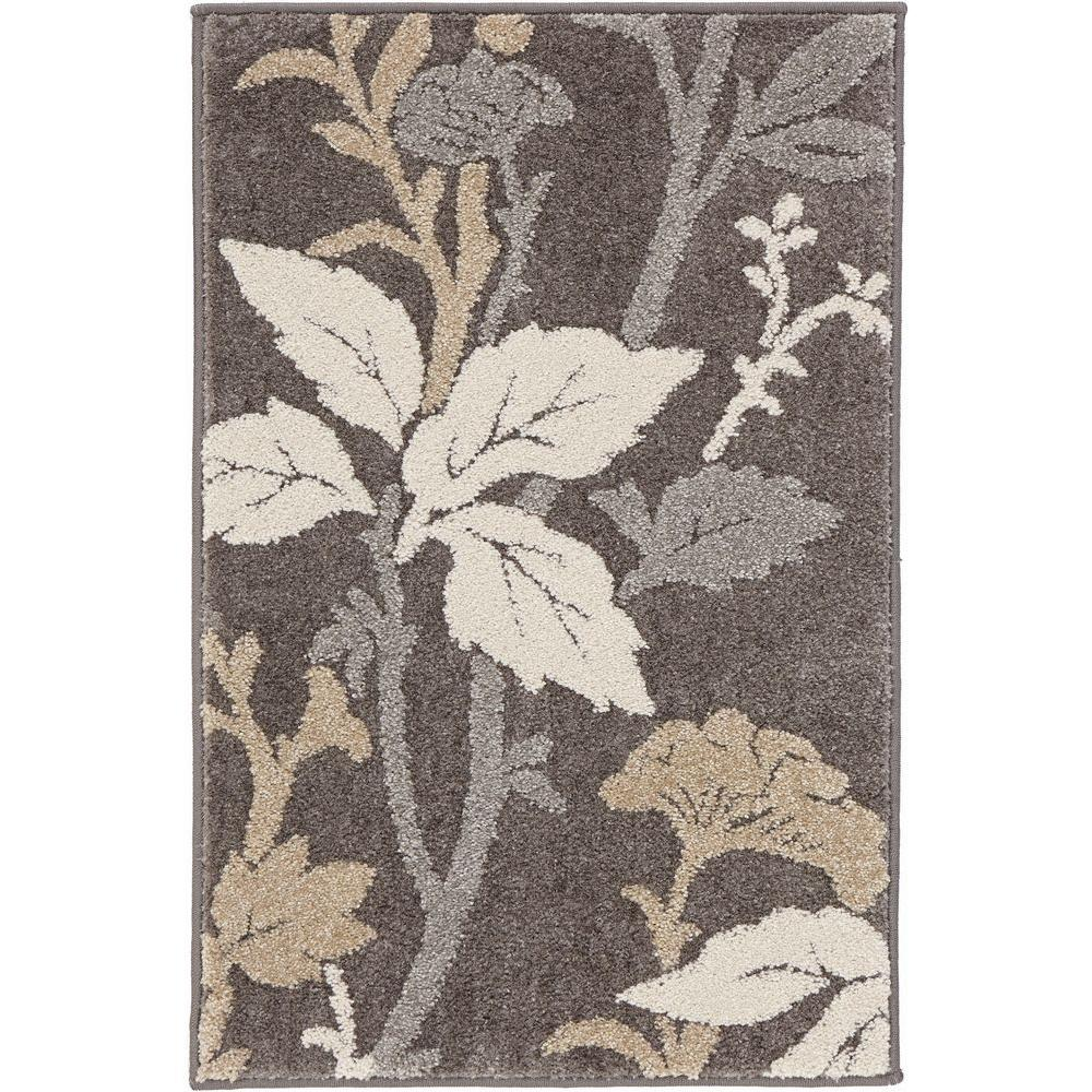 Home Decorators Collection Blooming Flowers Gray 2 Ft X 3