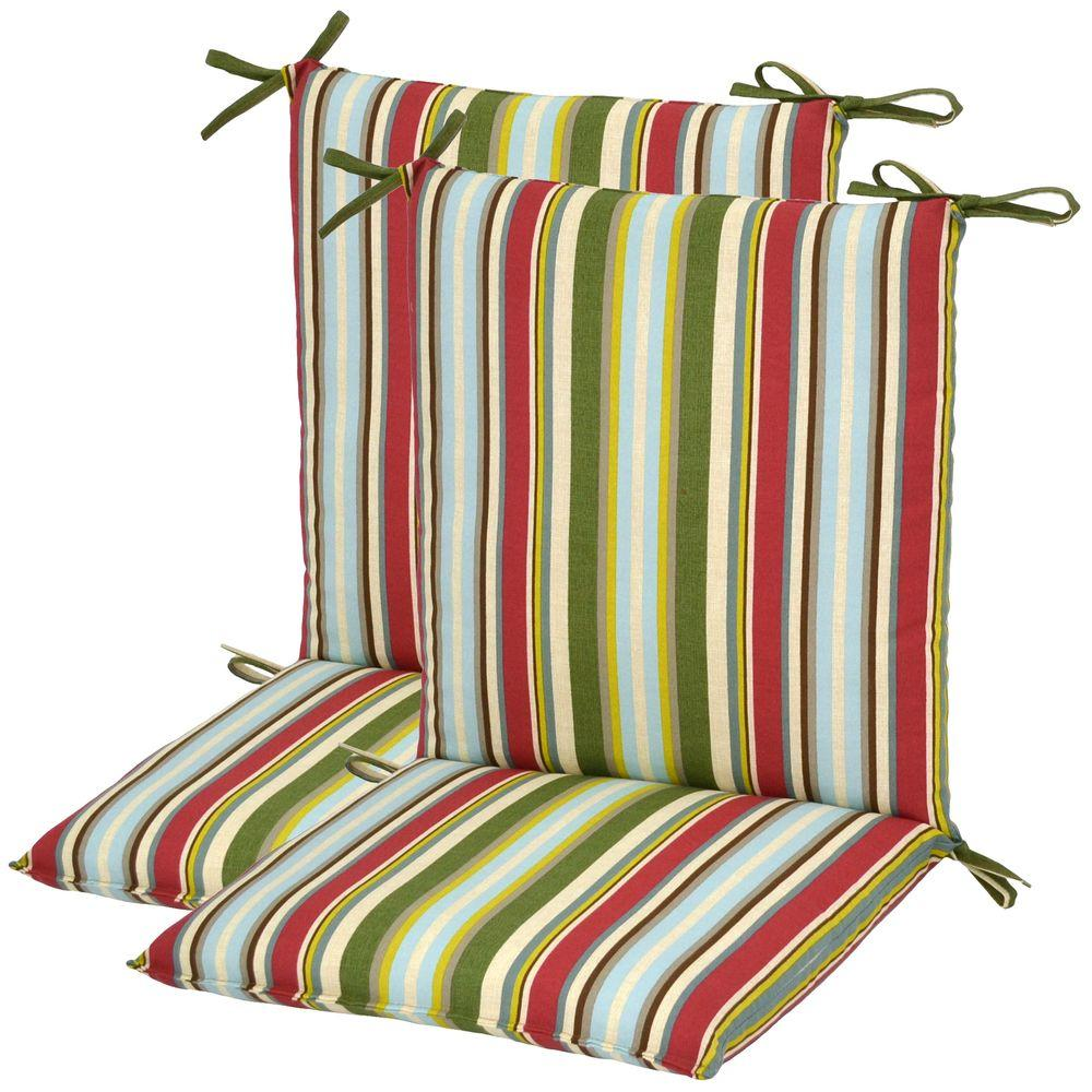 Plantation Patterns Grove Stripe Mid Back Outdoor Chair Cushion (2-Pack)-DISCONTINUED
