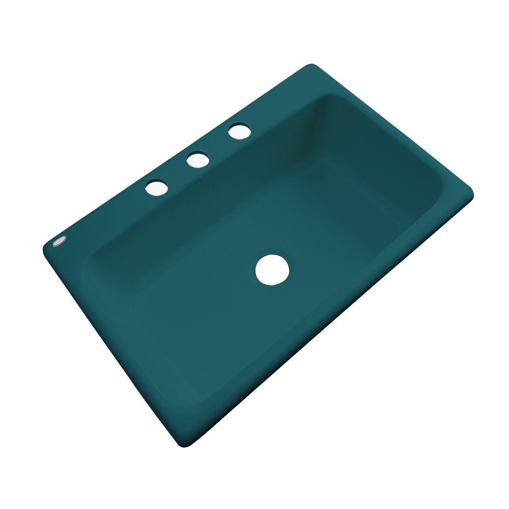 Thermocast Manhattan Drop-In Acrylic 33 in. 3-Hole Single Basin Kitchen Sink in Teal