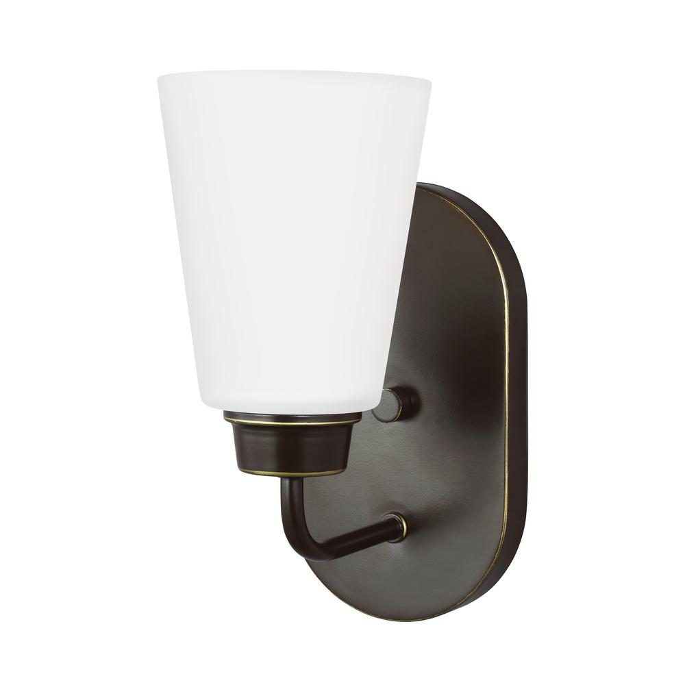 Sea Gull Lighting Alturas One Light Satin Bronze Sconce One Eight The Home Depot