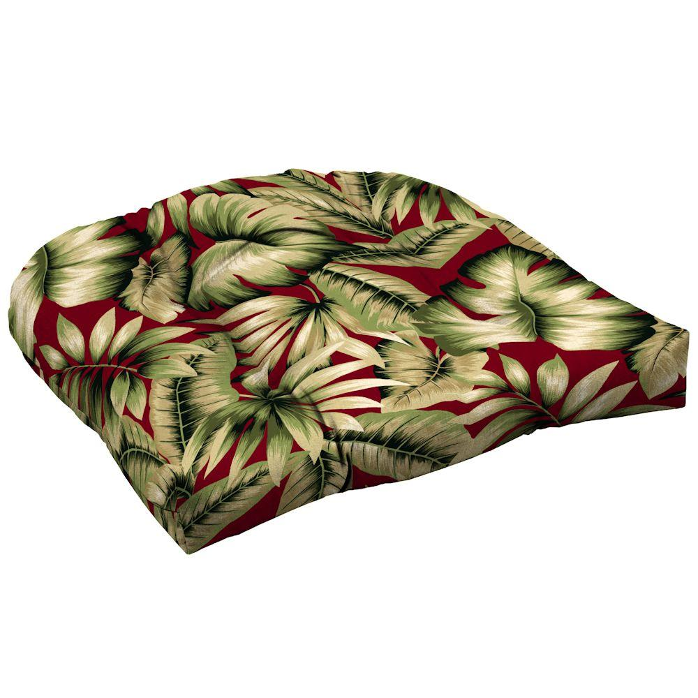 Hampton Bay Chili Tropical Tufted Outdoor Seat Cushion (2-Pack)-DISCONTINUED