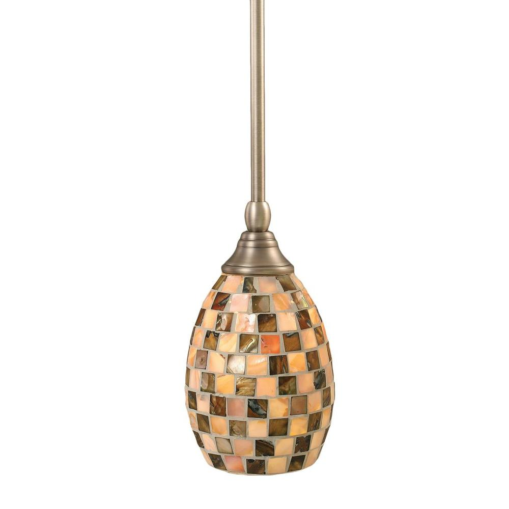 Filament Design Concord 1-Light Brushed Nickel Pendant with Seashell Glass