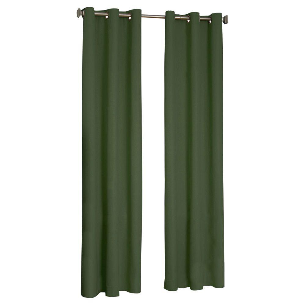 Microfiber Blackout Moss Grommet Curtain Panel, 63 in. Length