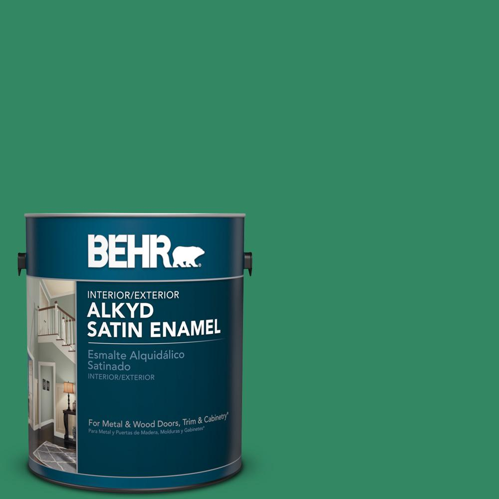 1 gal. #P420-6 Exquisite Emerald Satin Enamel Alkyd Interior/Exterior Paint