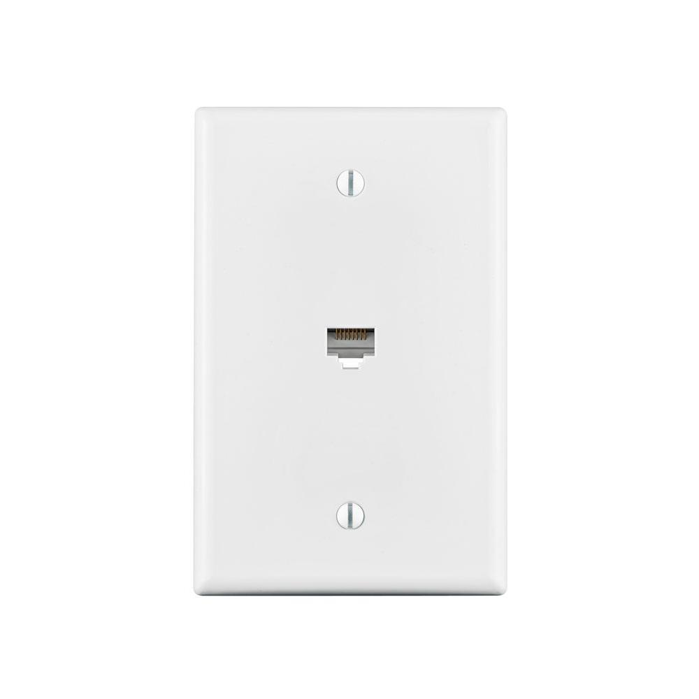 Leviton Cat5e Data Mid-Sized Wall Plate, White-R02-40540-0MW - The Home Depot