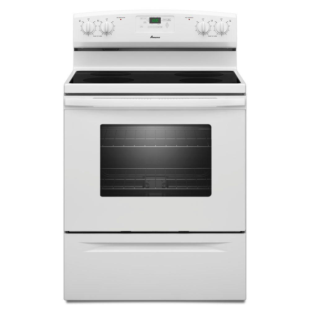 Amana 4.8 cu. ft. Electric Range in White-AER5330BAW - The Home