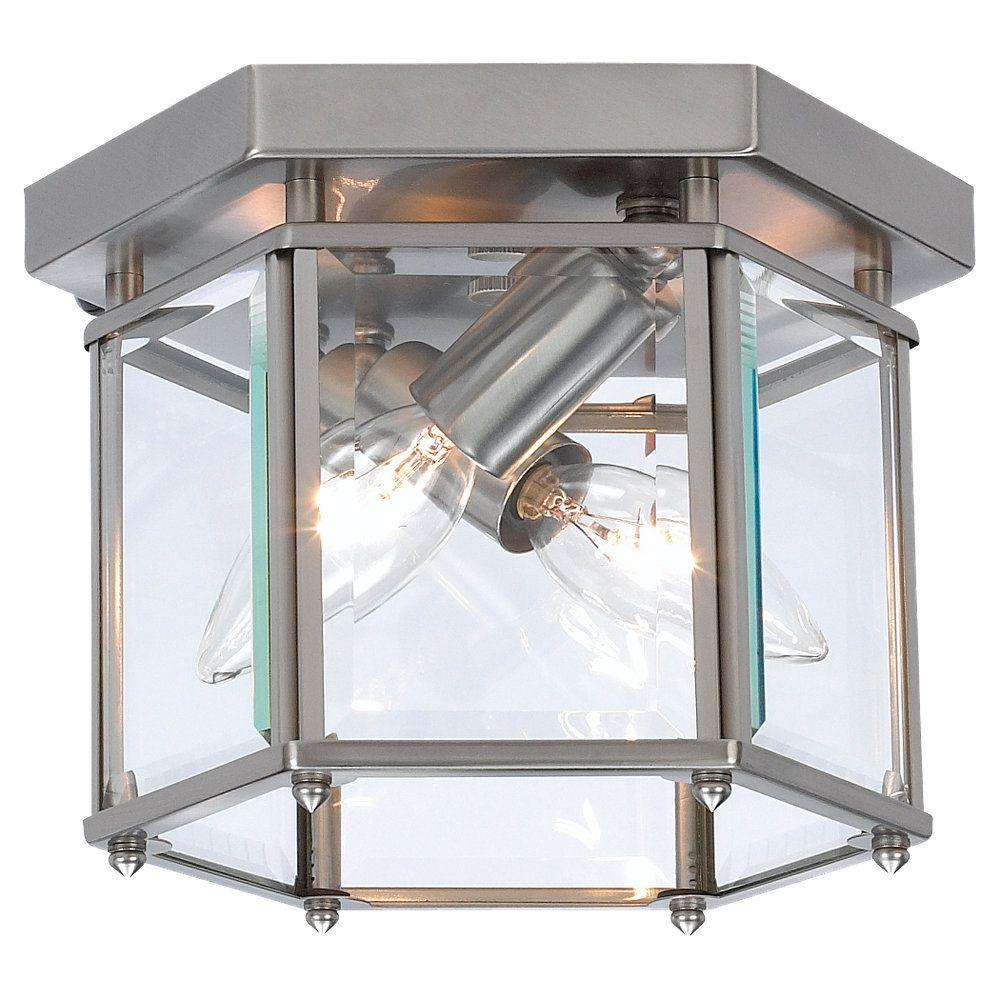 Bretton 2-Light Brushed Nickel Ceiling Fixture with Clear Beveled Glass Panels