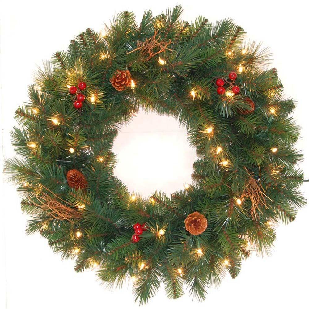 24 hawkins pine lighted christmas wreath at home depot for Home depot christmas decorations 2013