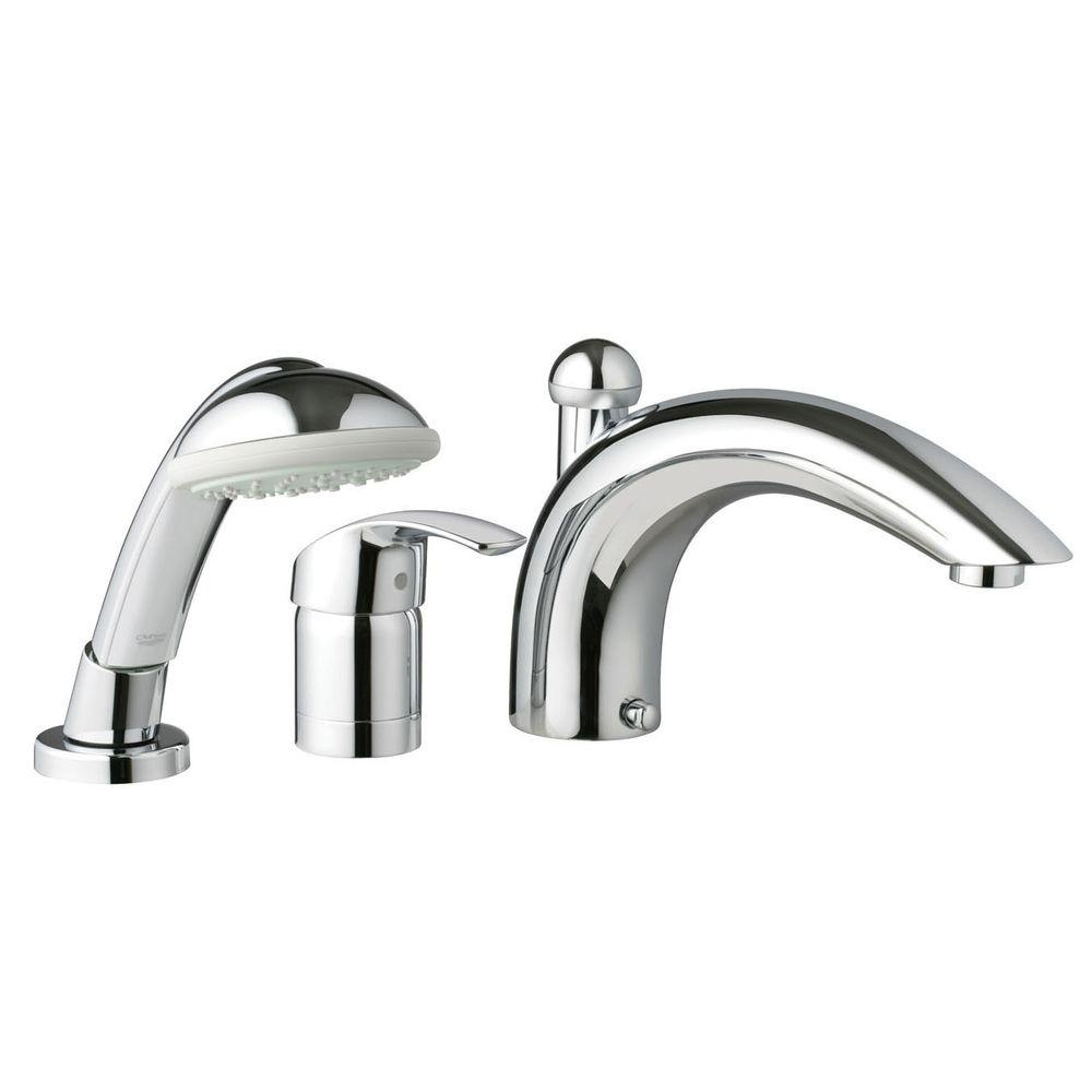 GROHE Eurosmart 3-Hole Single-Handle Deck-Mount Roman Tub Faucet with Hand Shower in StarLight Chrome