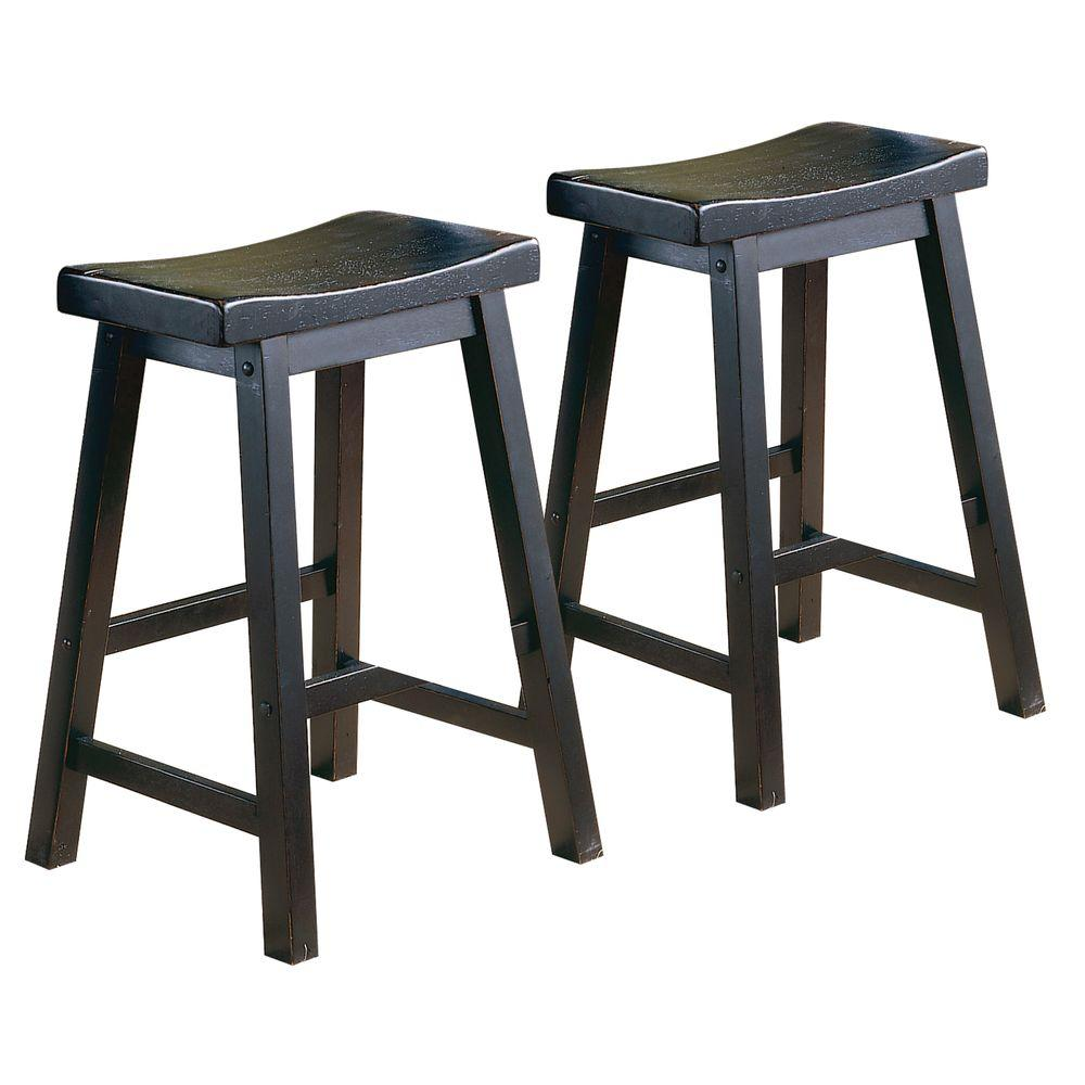Home Decorators Collection 29 in. H Black Saddleback Stool (Set of 2) - DISCONTINUED
