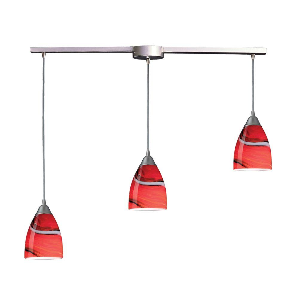 Pierra 3-Light Satin Nickel Pendant with Candy Glass