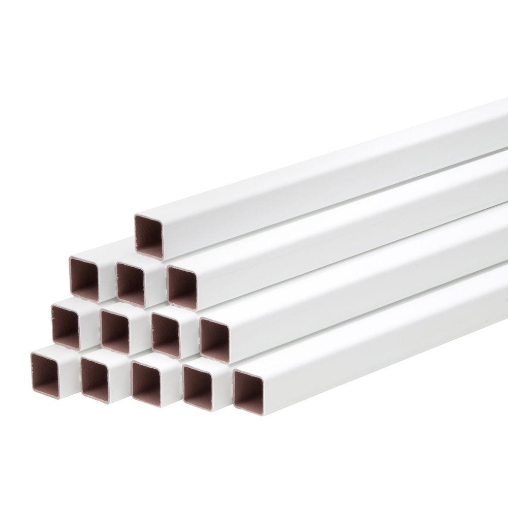 36 in. Composite White Square balusters for 6 ft. Section