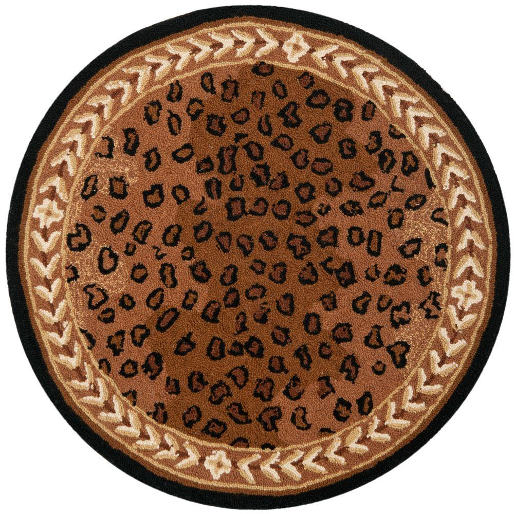 Chelsea Black/Brown 4 ft. x 4 ft. Round Area Rug